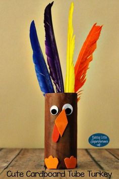 This Cute Cardboard Tube Turkey Craft is not only easy for even young children to make, but it is also a fun and festive Thanksgiving decoration to create.