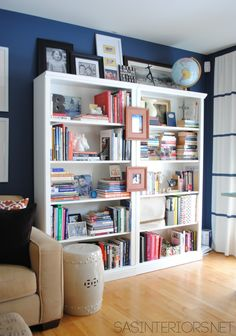 A Newly Designed Home Office Family Room Love The Way She Styled This Bookcase