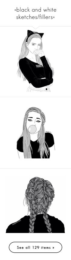 """=black and white sketches/fillers="" by ceemar8 ❤ liked on Polyvore featuring drawings, outlines, filler, fillers, doodles, art, backgrounds, text, magazine and borders"