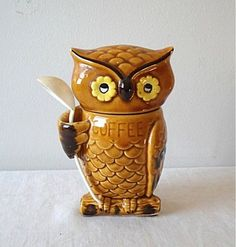 Vintage owl coffee canister