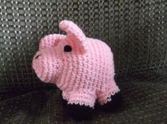 crochet pig pig amigurumi fat pink pig toy ready to by SalemsShop