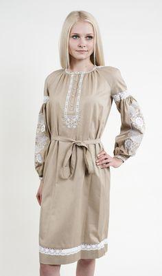 Вишите плаття бежевого кольору з білою вишивкою арт. 230-16 00 купити в 873f607003cb3