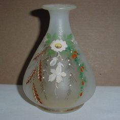 SMALL Incredible SIGNED H Glass VASE Hand Painted ART NOUVEAU Harrach or Heckert