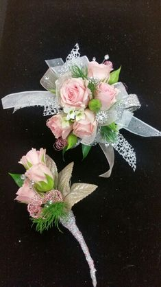 Pink roses with silver and champagne accents