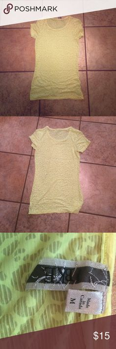BKE yellow leopard see through top This yellow leopard see through top was only worn one time. It is super comfy.❓ask questions so that you are % happy with your purchase. If you like this post tag your friends so they can see it too. Thanks!!!!!! PRICE IS FIRM BKE Tops Tees - Short Sleeve