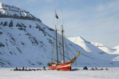 Dog sledding and sleeping on the ship Noorderlich in the nights on Svalbard Norway.