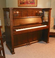 Vose & Sons Style O Library Model Mission Upright Piano   The Antique Piano Shop