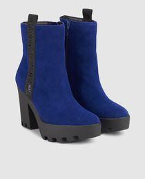 Botines de mujer Calvin klein Jeans en piel azul con elásticos   My ... 9a950dfb12