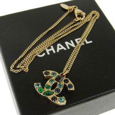 Authentic CHANEL Vintage CC Logos Stone Gold Chain Necklace France B29696 #Chanel #Pendant