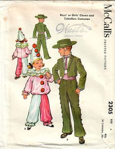 McCall's 2305 Vintage Sewing Pattern Boys and Girls Boys Clown Costume, Retro Costume, Costume Shop, Girl Costumes, Vintage Costumes, Vintage Kids Clothes, Vintage Children, Mccalls Patterns, Vintage Sewing Patterns
