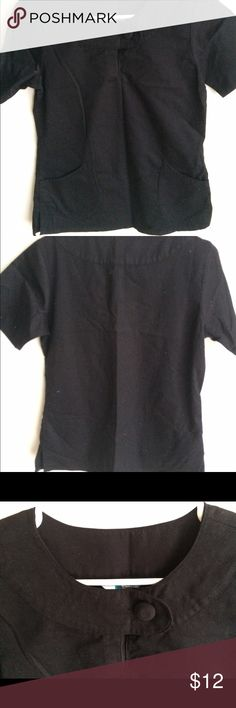Black scrub top Cute and chic black scrub top. The scooped neck has a button for design. Very stylish and will fit perfectly for clinical. scrub elements Other