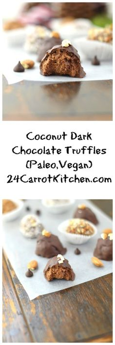 Paleo, Vegan, Coconut, Dark Chocolate Truffles.  Coconut manna is puréed coconut butter