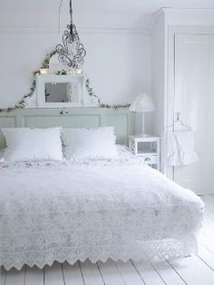 Shabby chic bedroom- crocheted bedspread