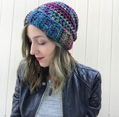 A personal favorite from my Etsy shop https://www.etsy.com/listing/252551261/multicolor-crochet-slouchy-hat