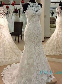 Elegant halter high neck lace mermaid wedding dress