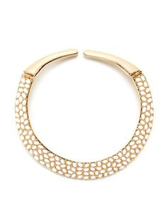 White Cabochon Collar Necklace by Kenneth Jay Lane at Gilt