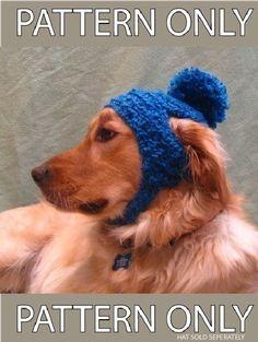 PDF Crochet Pattern for Poofball Dog Hat by OakStreetKnits on Etsy, $5.00
