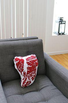 T-Bone Steak Meat Throw Pillow