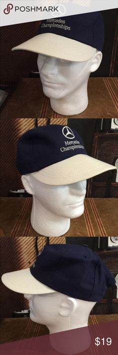 Mercedes Championships Golf Hat Blue Beige OS This listing is for a Mercedes Championships Golf Hat Cap with Adjustable Strap Dark Blue And Beige.    See pictures.  Very good condition. Texace Accessories Hats