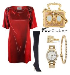 """""""#FunClutch"""" by paislea-gareave on Polyvore featuring Moschino, Gianvito Rossi, Dolce&Gabbana, David Yurman, Blue Nile and Rolex"""