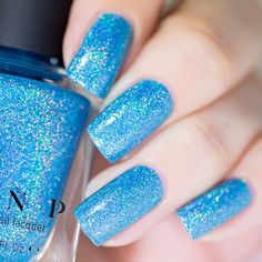 Float On - Vivid Aquamarine Blue Ultra Holographic Nail Polish by ILNP in 2020 Acrylic Nail Shapes, Square Acrylic Nails, Best Acrylic Nails, Blue Nail Polish, Pink Nail Art, Holographic Nail Polish, Blue Glitter Nails, Sparkly Nails, Teal Nails
