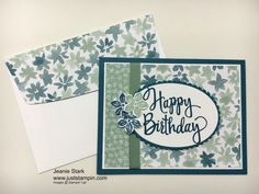 Stampin' Up! Blooms & Bliss Designer Series Paper, Birthday card, Stylized Birthday Stamp, Petite Petals, layering Ovals Framelits.  www.juststampin.com