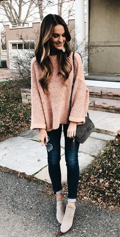#winter #outfits brown sweater, blue jeans and gray pumps outfit