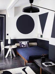Geometric shapes in the home of Florence Lopez House in Elle Decor on French by Design Decoration Inspiration, Interior Inspiration, Home Decoration, Daily Inspiration, Design Inspiration, Interior Architecture, Interior And Exterior, Sweet Home, Interior Decorating