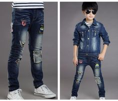 568faac2cd7 F17019  2017fashion Latest Children Straight Cartoon Patch Broken Soft Boys  Jeans Kids Pants China Wholesale