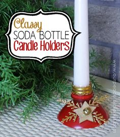 These DIY candle holders are a wonderful upcycle project made from plastic soda bottles. You can paint or decorate them for any occasion or holiday!