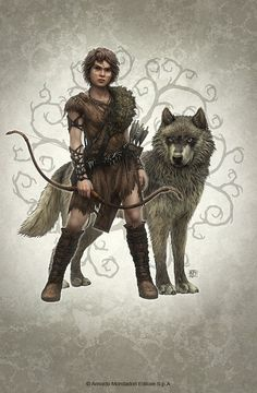 Wolf Brother Picture  (2d, illustration, wolf, archer, fantasy, portrait)