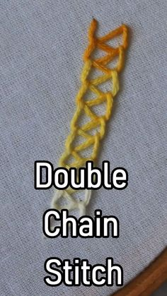 Chain Stitch inDouble Chain Stitch in Untitled Embroidery hoop art tutorial cross stitch ideas Hand Embroidery Hand Embroidery Videos, Embroidery Stitches Tutorial, Learn Embroidery, Hand Embroidery Patterns, Embroidery Techniques, Ribbon Embroidery, Embroidery Art, Cross Stitch Embroidery, Sewing Stitches By Hand
