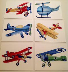 VINTAGE AIRPLANES boys kids art, tyson planes little aviator helicopter children art prints, set of 6