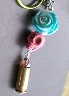 Sugar Skull Rose and Bullet Pendant Keychain by VivaGailBeads, $16.25