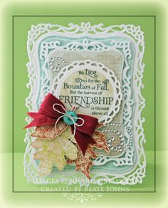 Fall card created with @JustRite Papercraft, Inc. stamps, @MME inc paper and @Spellbinders dies. Click on image to find blog post with more details.