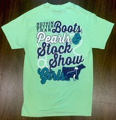 Nothin Better Than Boots Pearls & Stock Show Girls! Mint green shirt from www. Livestock Judging, Showing Livestock, Country Outfits, Country Girls, Show Steers, Show Cows, Pig Showing, Show Cattle, Girl Outfits