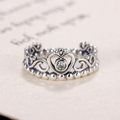 37af54557cd90c Noble Silver Color My Princess Queen Crown Engagement Brand Ring with  Clearintothea