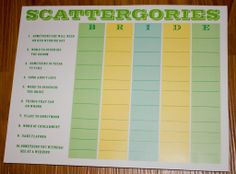 Bridal Shower Games-- pinning this for the scattergories. Loved that game played as a family! Would be fun!!!