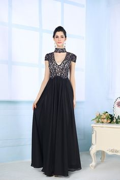 lack High Neck Lace Floor-length Evening Formal Dresses Prom Gown