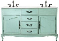 Home Decorators Collection Provence 62 in. W x 22 in. D Double Sink Vanity in Blue with Marble Vanity Top in at The Home Depot Home Decorators Collection Provence… Single Sink Vanity, Vanity Sink, Bath Vanities, Double Vanity, Blue Vanity, Dresser Vanity, Double Bath, Double Sinks, Sink Top