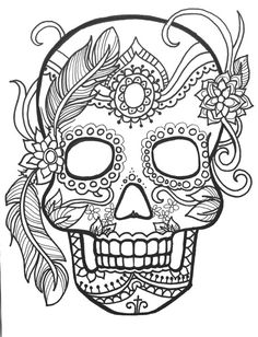 10 sugar skull day of the dead coloringpages original art coloring book for adultscoloring therapy coloring pages for adults printable - Color In Pages
