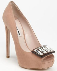 Miu Miu Jeweled Open Toe Pump USD790