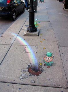 by David Zinn: Sidewalk Chalk Art for St. Pat's Day