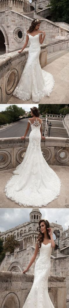 illusion neckline lace long wedding dress