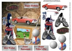 Golf Road Trip Topper Decoupage on Craftsuprint designed by Barbara Hiebert - This is a golf road trip card topper, with various, items for decoupage.The sentiment tags say,Happy BirthdayHappy Father's Day Best WishesEnjoy Retirement - Now available for download!