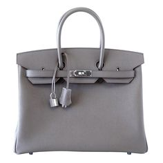 Hermes BIRKIN 35 Etain Special Order Horseshoe with rich Rouge Casaque interior. Beautiful combination is accentuated with Palladium hardware. Epsom leather. NEW OR NEVER WORN. Comes with lock, keys,