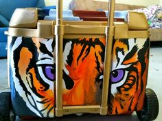Clemson Girl - Clemson hand-painted custom coolers - Link to how to, and photos of Clemson painted coolers. #tigers #orange #purple #clemson