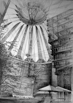 Architect Helmut Jahn, Sony Center, Berlin, drawing by Klara Ostaniewicz