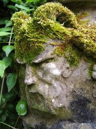 Sculpture with moss