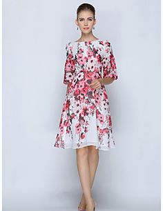 SHE'SWomen's Plus Size Work Sophisticated Shift DressFloral Round Neck Knee-length Short Sleeve Polyester Summer Mid Rise Inelastic Thin